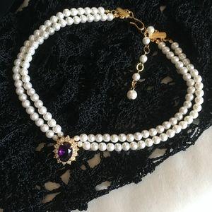 Vintage Double Pearl necklace w/ Amethyst & CZ